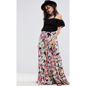 Free People Floral Maxi Skirt High Front Slit Sz 8
